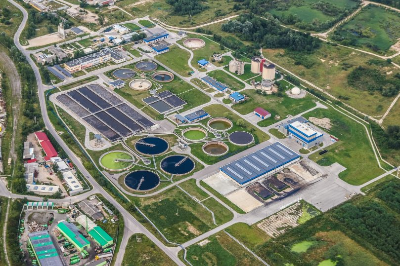 Wastewater treatment plants purify the wastewater and produce clean water